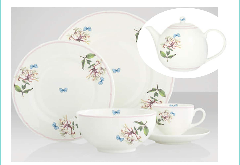 plates cup teapot